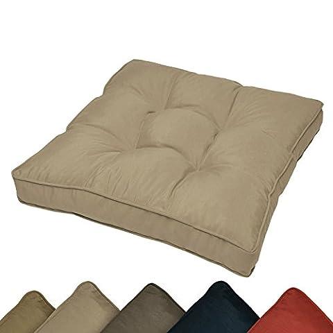 Outdoor Lounge-Kissen wasserabweisendes Sitz-Kissen Beige 60x60x10 cm - Polster für Rattan-, und