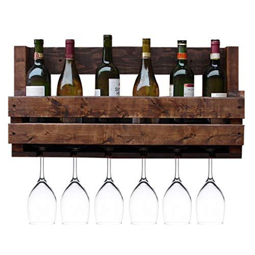 YC electronics Weinregal Flaschenhalter Nordic Retro Massivholz Weinregal Wandbehang Home Becher Rack Restaurant Bar Weinkühler (Größe : 70cm)