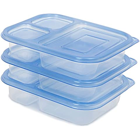 80% Off (Sale Ends Sept 30) Lunch Box / Food Storage Container with Lid (NOT Leak-Proof) | FDA-Approved & Food-Safe (BPA- & Phthalate-Free) | Reusable, Microwave-Safe | 3-Compartment, Set of 3 by FeschDesign