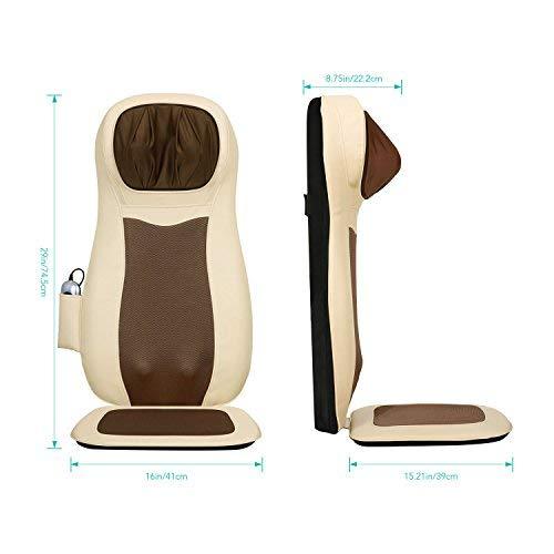 Naipo - Cuscino massaggiante shiatsu, per schiena, massaggiante, collo, schiena piena, con calore, vibrazione 3D, regolabile per alleviare i dolori muscolari