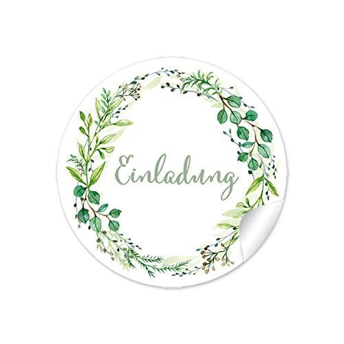 """72 STICKER:""""Einladung"""" Etiketten als Gastgeschenk mit Zweig in Grün als Siegel für Briefumschläge Anhänger oder Briefe zur Hochzeit Geburtstag Taufe • 4 cm, rund, matt"""