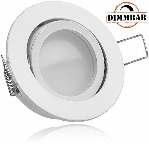 LED Einbaustrahler Set EXTRA FLACH (35mm) in Weiß mit LED Markenleuchtmittel von LEDANDO - 5W DIMMBAR - 3.000 Kelvin warmweiss - 110° Abstrahlwinkel - schwenkbar - 35W Ersatz - tauschbares Leuchtmittel Ersatz-flat