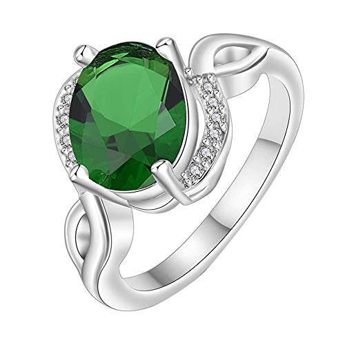 Purmy donne anello bianca placcato oro fede nuziale con verde cubic zirconia elliptica forma design modello elegante stile dimensione 12