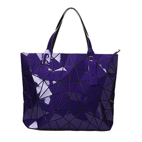 Borse A Tracolla Geometriche In Pelle Plaid Artigianale In Pelle PU Purple