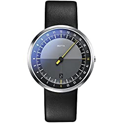Botta-Design UNO 24 wristwatch - 24H one-hand watch, stainless steel, black dial, anti-reflective, leather strap
