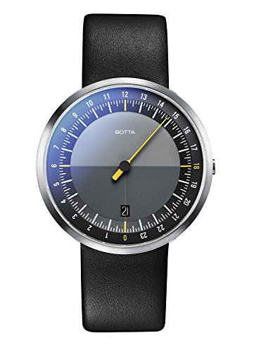 Einzeigeruhr 24 Stunden Quarz, Armbanduhr – UNO 24 von Botta-Design – Einzeiger-Uhr für Herren mit 24h Zifferblatt – Uhren aus Edelstahl, schwarzes Ziffernblatt, Saphirglas Antireflex, Lederband
