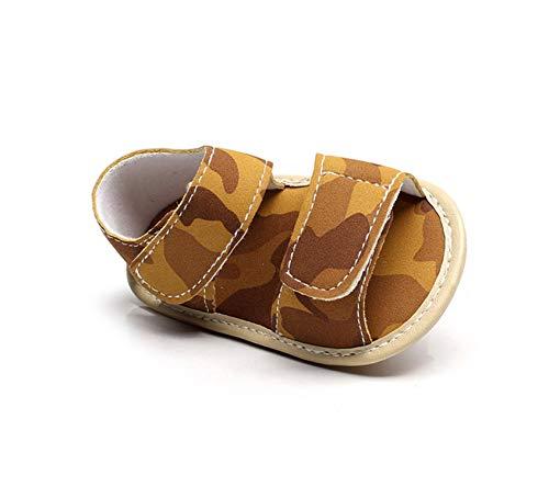 Summer Infant PU-Leder Babyschuh Gummi-Sohle Kleinkind Mädchen Junge Sandalen, Tarnung Brown, 2 Tan Ankle Wrap