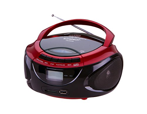 Sunstech CRUSM390RD - Radio AM/FM, CD, SD, USB, 2W RMS, color rojo
