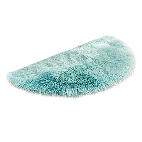 Tatis Kissen Künstliche Wolle Teppich halbkreisförmige Matte Stilvolle einfarbigen Wolle Nachahmung Kunstpelz Nicht Beleg Schlafzimmer Shaggy Teppich Matten 45 x 90 cm im 9 Arten