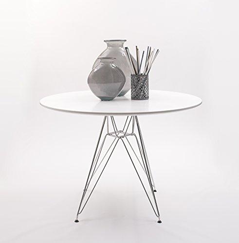Mesa de cocina / comedor Redonda, patas metal cromado inspiración DSR de Eames