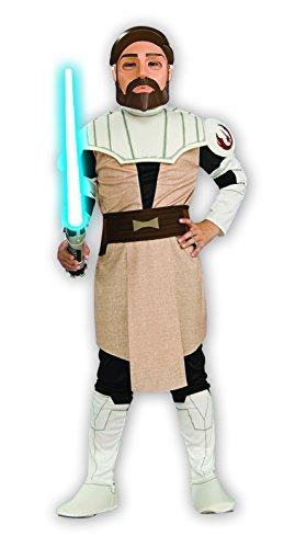 Star Wars - Obi-Wan Kenobi Jedi Kinderkostüm, 4 Teile: Tunika, Hose, Maske, Gürtel - (Obi Kenobi Wan Maske)