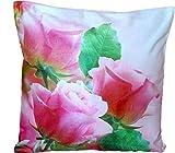 Kissenhülle 40x40 cm Rosen Rosa Soft-Touch Dekokissen Kissenbezug Kissen Frühling Sommer
