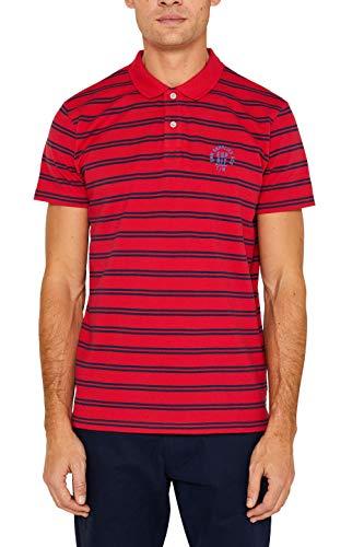 ESPRIT Herren 039EE2K030 Poloshirt, Rot (Red 630), Large (Herstellergröße: L) - Strukturierte Langarm-polo-shirt