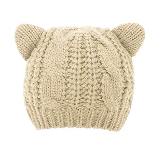 Luxspire Women Cute Cat Ear Hat Ski Knit Cap Girl Crochet Beanies - Beige (Ear Cat Beanie Knit)