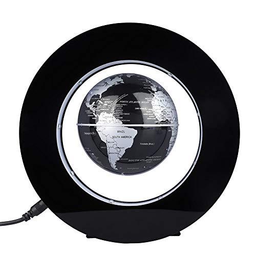 Globo Flotante de levitación magnética Forma Redonda Globos terráqueos Flotante Giratorio con luz LED, Decoración de Casa Regalo Educativo para los niños(Plateado/Negro)