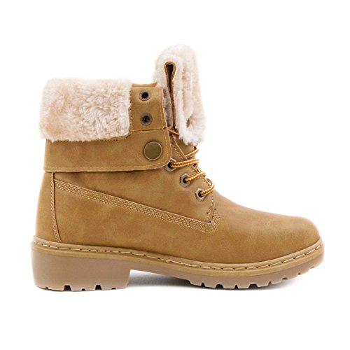 in Camel Madrid Stiefel Schn眉r Lederoptik Worker Boots Stiefeletten Damen BX0RqR