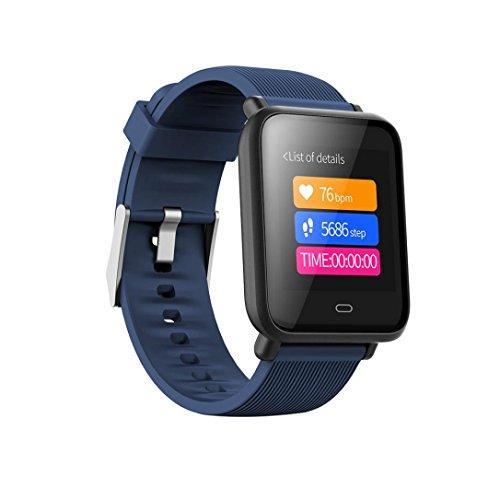 Ears Mehrere Fitness Kalorien Blutdruck Übung Herzfrequenz Schrittzähler Watch Smart Watch Uhr Versa Health Fitness Smartwatch Pulsmesser Schrittzähler Kalorienzähler Schlafanalyse für (Blau)