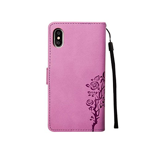inShang Hülle für iPhone X 5.8 inch mit integriertem Brieftaschen-Design, iPhoneX 5.8inch cover case mit Standfunktion. purple