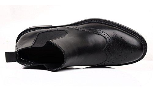 WOUFO boots homme Cuir supérieur Tête ronde Sculpture-style BAROQUE STYLE Noir