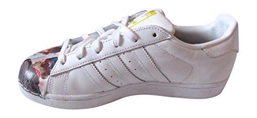 adidas Herren Sportschuhe Weiß-Scarlett streifen-weiße Sohle