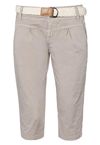 Fresh Made Damen Capri im Chino Design mit Flecht-Gürtel | Elegante Kurze Hose ideal für den Sommer Light-beige XL