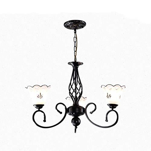 YJFFAN Creative Home Lighting Chandelier, Modern Minimalist Wrought Iron Glass Multi-Head Chandelier for Living Room Dining Room Bedroom Lampe E27,110-240V,3heads