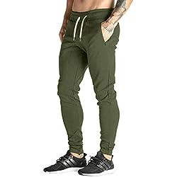 MODCHOK Hombre Pantalones Largos Deportivos Ch¨¢ndal Jogger Chino Jogging Cargo Algod¨®n Bolsillo Cord¨®n 3 Verte Militar M
