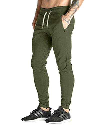 Modchok uomo pantaloni lunghi jogging chino jogger tuta sportiva pantaloni di sport?3verde militare xl