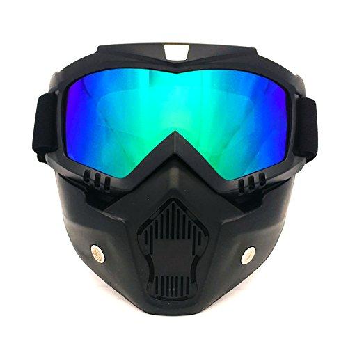 Spohife maschera da motocross, con protezione per il volto staccabile, antivento, protezione uv 400 (color)