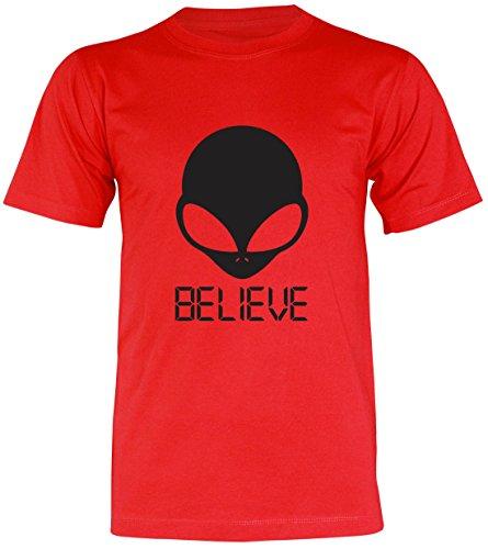PALLAS Unisex's Alien UFO Believe T-Shirt Red