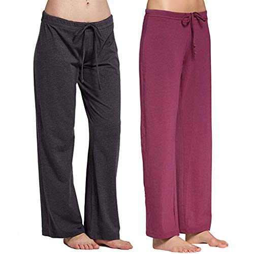 Yvelands Frauen 2PC Hosen Casual Stretch Cotton Pyjama Hosen Einfache Sport Yoga Hose(Grau, rot,XL)