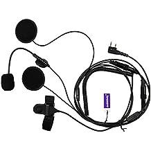 Media Cara Casco Moto Auricular Con Micrófono PTT Para 2 pin Kenwood HYT PUXING WOUXUN LINTON Walkie Talkie