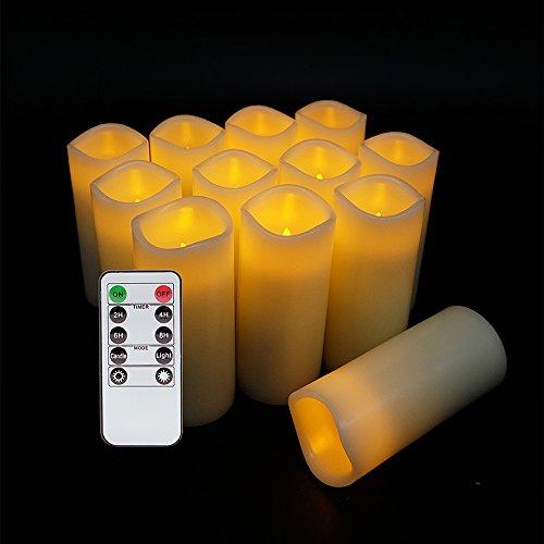 Eldnacele Velas sin llama parpadeo de velas LED Juego de 12 (D: 2.2