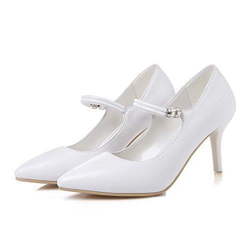VogueZone009 Femme Pointu à Talon Haut Matière Souple Couleur Unie Tire Chaussures Légeres Blanc