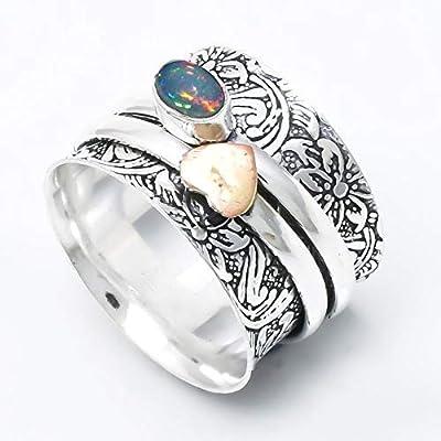 Bague en argent Sterling en opale éthiopienne, bague à deux anneaux, bague de conception coeur, bague de méditation, bague de fiançailles pour femme