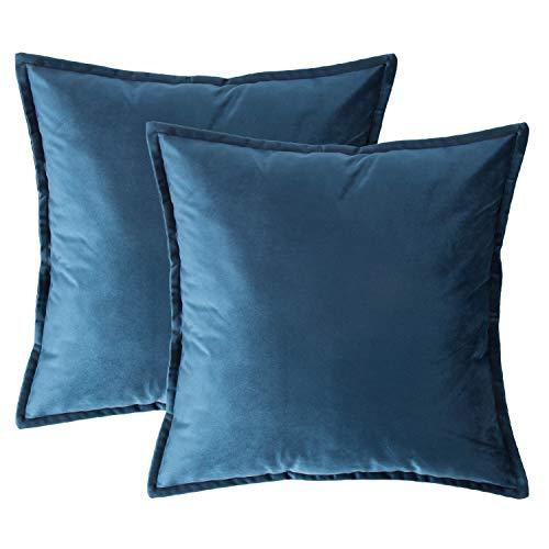 Bedsure Fundas de Cojín Decorativas Azul Marino Terciopelo Cuadradas 2 Pack...
