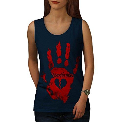 Herz Unterbrechung Cool Mode Unterbrechung Oben Liebe Damen S-2XL Muskelshirt | Wellcoda Marine
