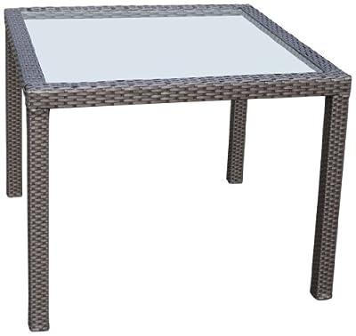 Ambientehome Polyrattan Tisch inkl. Glasplatte Esstisch Nairobi, 90 x 90 cm