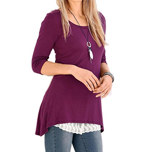 OverDose blusas para mujer O-cuello mangas 3/4 top irregular