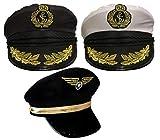 ILOVEFANCYDRESS Adultos PILOTO Sombrero Disfraz Accesorio Unisex Fuerza AÉREA CAPITÁN Gorra Sombrero Negro con Emblema Aviador Hombre
