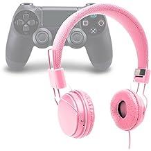 DURAGADGET Auriculares Estéreo Para Playstation 4 / 3 - En Rosa Con Micrófono / Cable De 2 m