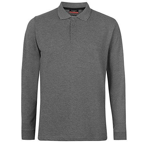 Pierre Cardin Mens Neue Saison langarm Klassisches Premium Polo T-Shirt anbringen. (Groß, Holzkohle Marl)