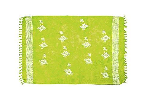 MANUMAR Damen Pareo Blickdicht, Sarong Strandtuch in grün mit Hibiscus Blüten Motiv, XXL Übergröße 225x115cm, Handtuch Sommer Kleid im Hippie Look, Sauna Hamam Lunghi Bikini Strandkleid