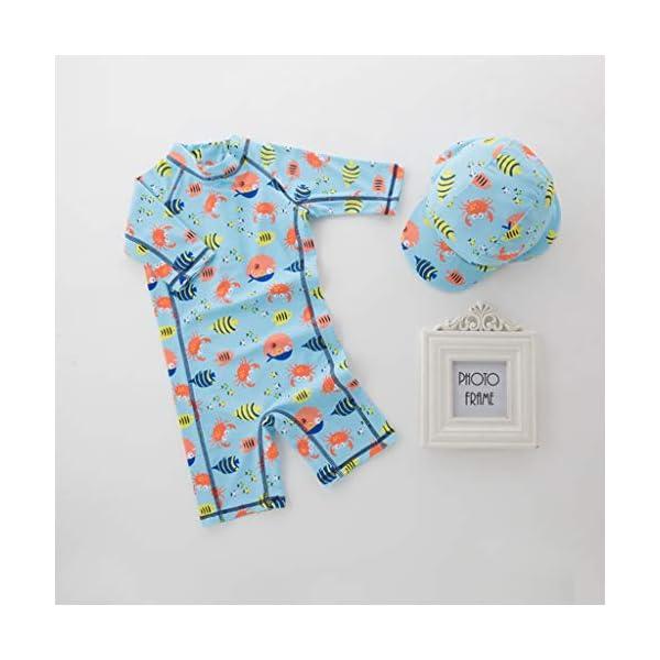 QIAODOUMADAI Summer Baby Boy Traje de baño + Sombrero 2 Unids Set Peces Mundo Marino Traje de baño Infant Toddler Kids… 1