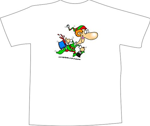 T-Shirt E1278 Schönes T-Shirt mit farbigem Brustaufdruck - Logo / Grafik / Design - verrückter Maler Zwerg mit Pinsel und Farbeimer Weiß