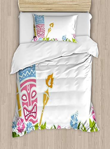 ettbezug Set Einzelbett, Statuen Hibiskus, Kuscheligform Top Qualität 2 Teiligen Bettbezug mit 1 Kissenbezüge, Hellblau Grün Rosa ()