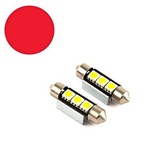 Preisvergleich Produktbild 2x LED SOFFITTE 3 SMD 39mm 12V ROT RED C5W 5050 SMD CANBUS 2 Stück Lampen für Innen- Kennzeichen- Einstiegs- Kofferraum- Fussraumbeleuchtung