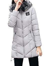 FNKDOR Las señoras de las mujeres adelgazan con capucha abajo el abrigo de la chaqueta de la capa del parka caliente de invierno largo acolchado