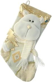 WeRChristmas - Calza di Natale con decorazione 3D a forma di testa di renna, 48 cm, bianco panna/oro