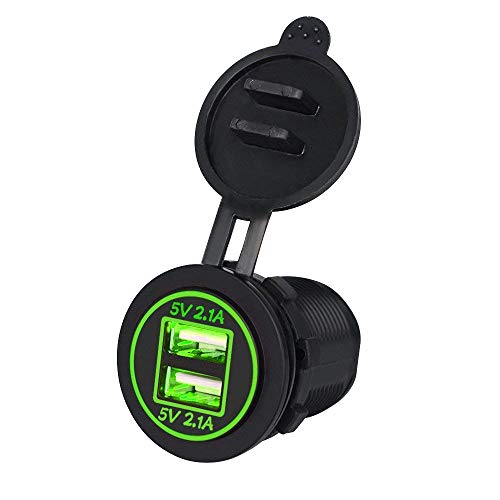 TurnRaise 4.2A Toma USB Cargador para Coche Barco Motocicleta 12-24 Voltios IP66,...